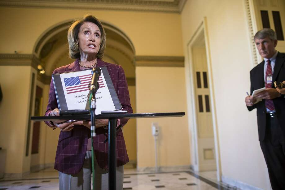House Minority Leader Nancy Pelosi (D-Calif.) speaks to reporters about the Iran nuclear deal during a news conference on Capitol Hill in Washington, Sept. 11, 2015. (Zach Gibson/The New York Times) Photo: Zach Gibson, New York Times