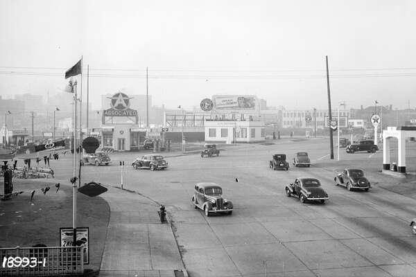 Aurora Avenue at Denny Way in Seattle's Belltown neighborhood. Pictured in 1940.