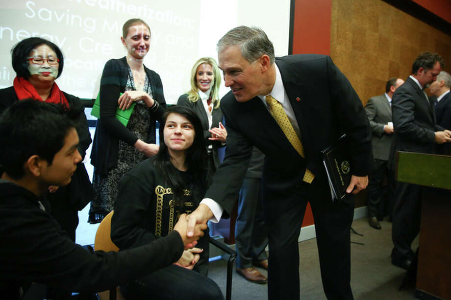"""Gov. Jay Inslee says, in his second inaugural address, that Washington has an """"historic opportunity"""" to fully pay for k-12 education, better support its teachers, and put more resources into skill training for those who choose not to attend college. Photo: JOSHUA TRUJILLO / SEATTLEPI.COM"""