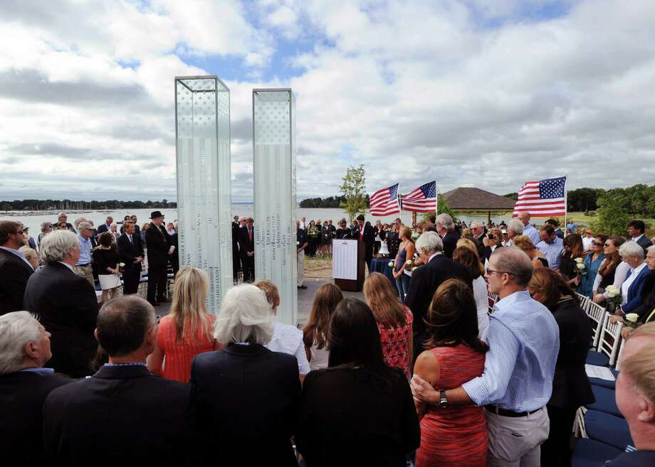 Friday morning's dedication ceremony for the Sept.11 Memorial in Cos Cob Park. Photo: Bob Luckey Jr. / Hearst Connecticut Media / Greenwich Time
