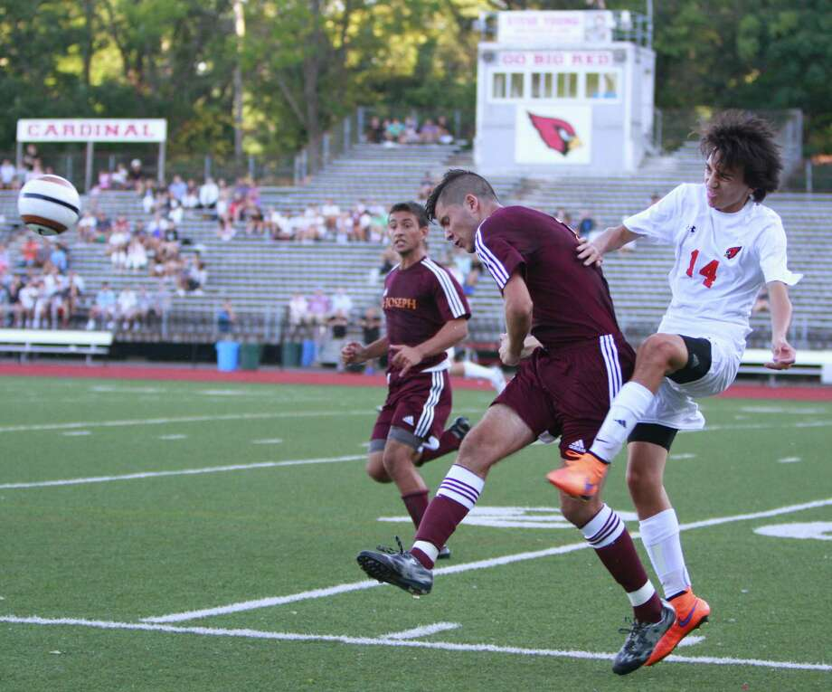 Greenwich battles with St. Joseph to a 2-2 tie in a varsity soccer game played in Greenwich, Conn. on Sept. 11, 2015. Photo: Matthew Brown / For Hearst Connecticut Media / Connecticut Post Freelance
