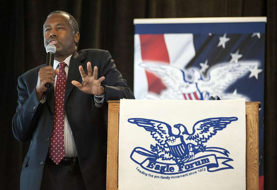 Republican presidential candidate Ben Carson speak ar the Eagle Council XLIV, sponsored by the Eagle Forum, at the Marriott St. Louis Airport in St. Louis, Friday, Sept. 11, 2015. (AP Photo/Sid Hastings) Photo: Sid Hastings, Associated Press