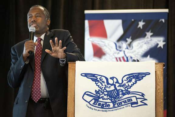 Republican presidential candidate Ben Carson speak ar the Eagle Council XLIV, sponsored by the Eagle Forum, at the Marriott St. Louis Airport in St. Louis, Friday, Sept. 11, 2015. (AP Photo/Sid Hastings)