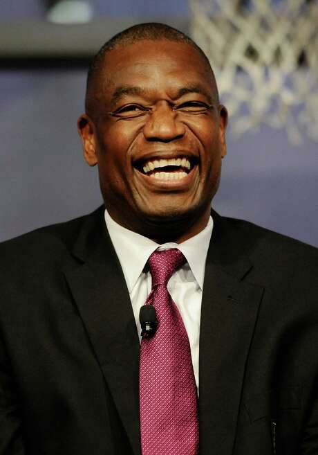 Dikembe Mutombo of the 2015 class of inductee into the Basketball Hall of Fame during a news conference at the Naismith Memorial Basketball Hall of Fame, Thursday, Sept. 10, 2015, in Springfield, Mass. (AP Photo/Jessica Hill) Photo: Jessica Hill, FRE / FR125654 AP