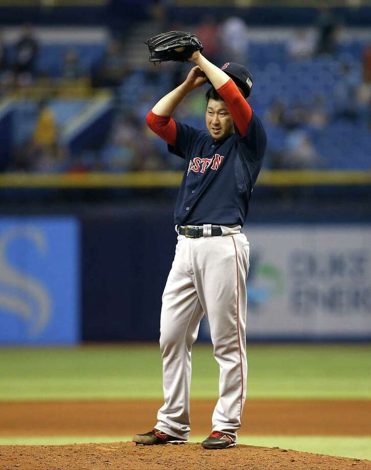 ST. PETERSBURG, FL - SEPTEMBER 11:  Pitcher Junichi Tazawa #36 of the Boston Red Sox reacts on the mound after giving up a two-run home run to Asdrubal Cabrera #13 of the Tampa Bay Rays during the eighth inning of a game on September 11, 2015 at Tropicana Field in St. Petersburg, Florida.  (Photo by Brian Blanco/Getty Images) ORG XMIT: 538594713 Photo: Brian Blanco / 2015 Getty Images