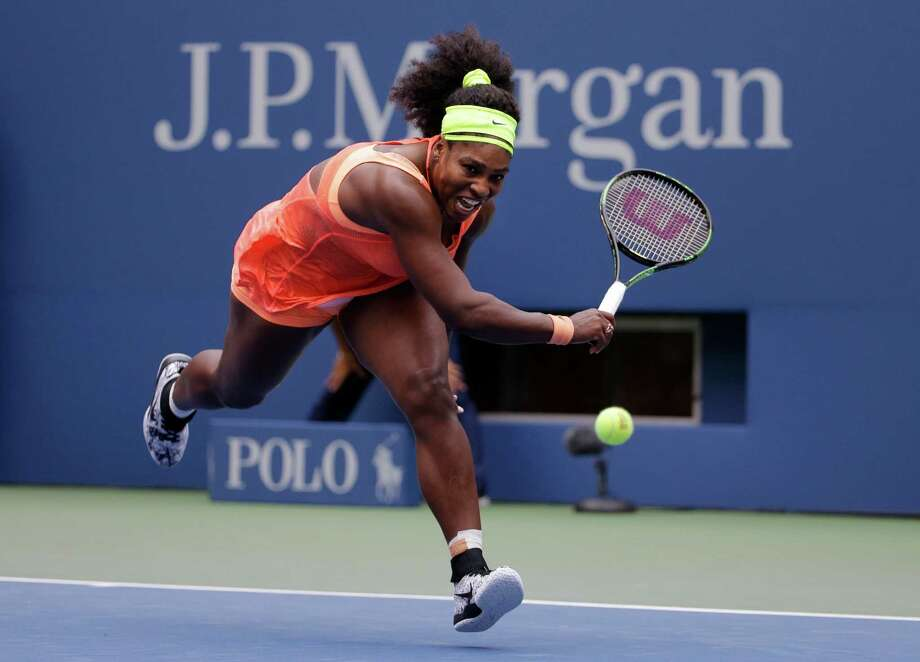 Serena Williams chases down a drop shot from Roberta Vinci, of Italy, during a semifinal match at the U.S. Open tennis tournament, Friday, Sept. 11, 2015, in New York. (AP Photo/David Goldman) ORG XMIT: USO263 Photo: David Goldman / AP