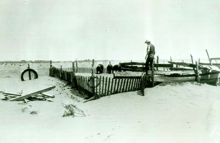 """The serious drought in Texas is brought into sharp focus in this typical scene showing J.B. Hoffman looking at a pig pen raised about four feet by drifting sand on his father's 400-acre farm near Lamesa. Agriculture Secretary Ezra Taft Benson left the drought-sick state after promising farmers and cattlemen a point by point program of government help """"within a matter of hours."""" Photo: Associated Press / AP"""