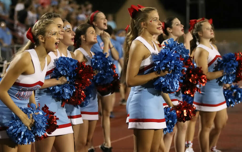Lumberton cheerleaders cheer from the sidelines as the Raiders square off against the Bridge City Cardinals on Sept. 11 at Larry Ward Stadium in Bridge City. Photo provided by Kyle Ezell