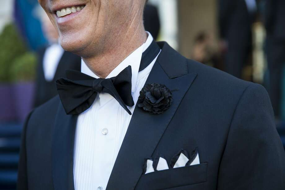 Jack Calhoun's unconventional four-peak pocket square was an eye-catcher. He said he had to try folding it four times before he got it right, but it was worth the effort. Photo: Laura Morton, Special To The Chronicle