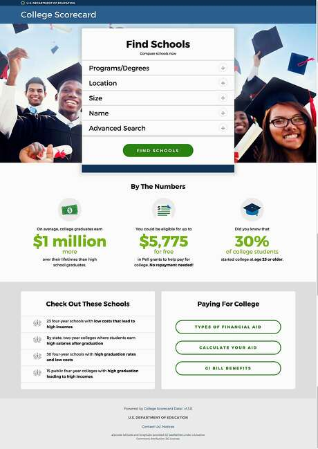 This image provided by the Education Department shows part of a new web page that will help students choose the right college. Sharply scaling back plans for a government-run college rating system, President Barack Obama is now trumpeting a redesigned online tool that will give students and their parents information about costs, student loans and other data to help them choose among the nation's colleges and universities. (Education Department via AP) Photo: Associated Press