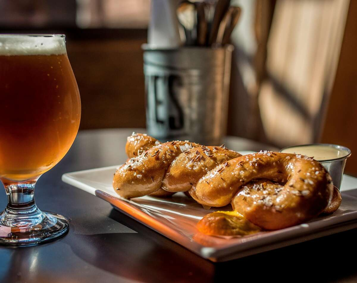 The Red Eye Pretzel with the Denogginizer double IPA at Drake's Dealership in Oakland, Calif., is seen on September 11th, 2015.