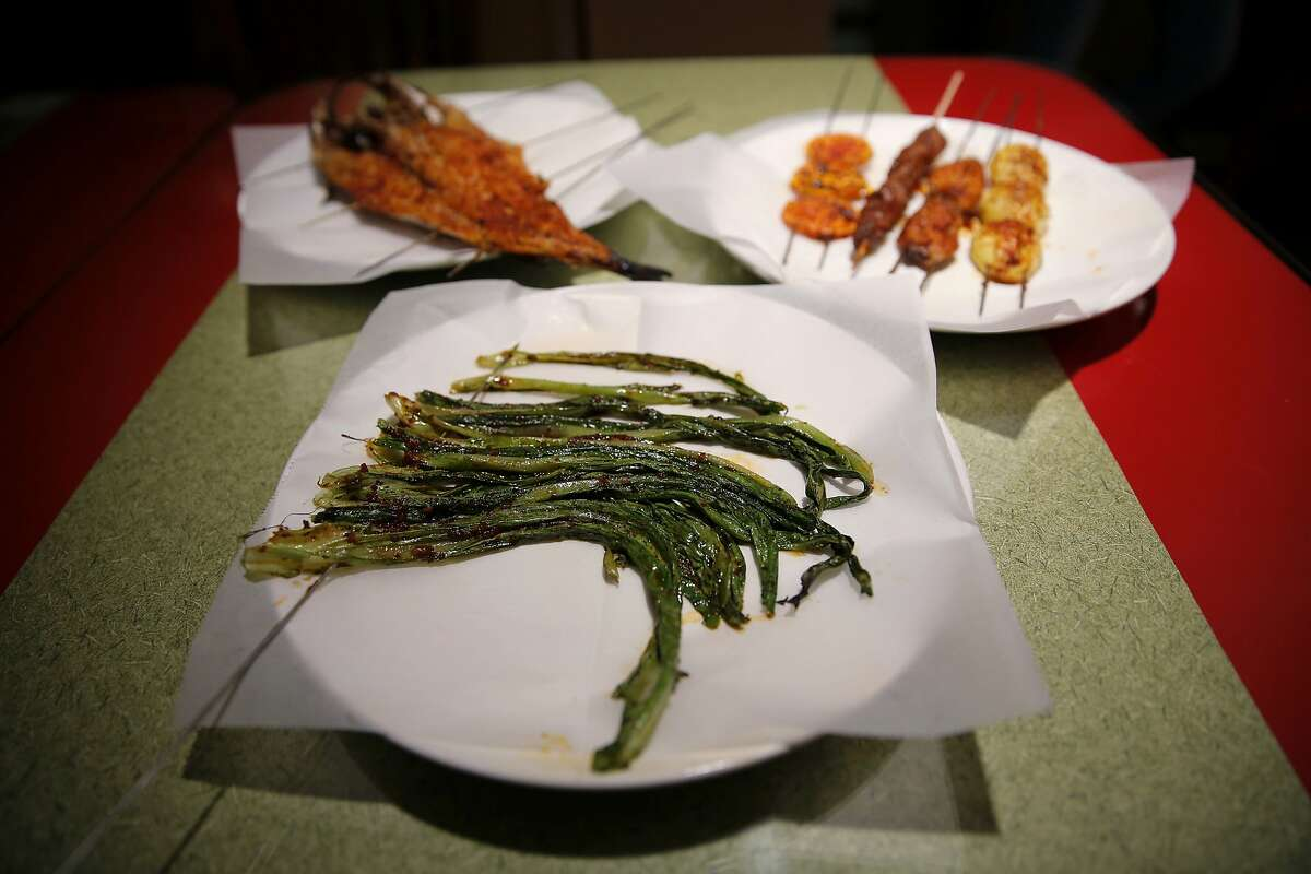 A variety of skewers at TLT BBQ in San Mateo, California, on Thursday, Sept. 10, 2015.