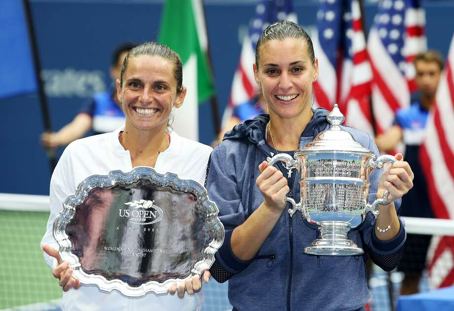 Champion Flavia Pennetta (right) and runner-up Roberta Vinci have been friends since childhood. Photo: Matthew Stockman, Getty Images