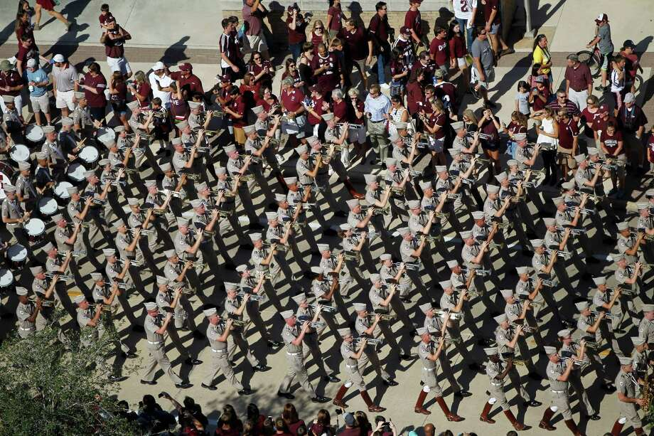 The Aggie Band walks into the stadium before the start of a college football game at Kyle Field on Saturday, Sept. 12, 2015. Photo: Karen Warren, Houston Chronicle / © 2015 Houston Chronicle