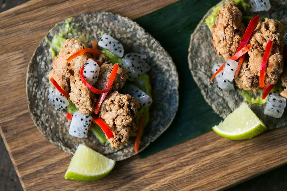 "Masa crusted veal sweetbreads, avocado, Fresno escabeche, and dragon fruit make up the ""Mollejas de Ternera con Pitayas Enescabeche"" tacos at Calavera. Photo: Jen Fedrizzi, Special To The Chronicle"