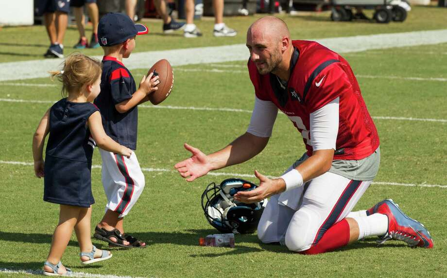 Texans quarterback Brian Hoyer has bounced around the NFL, but his his son, Garrett, and daughter, Cameron, make everything worth it. Photo: Brett Coomer, Staff / © 2015 Houston Chronicle