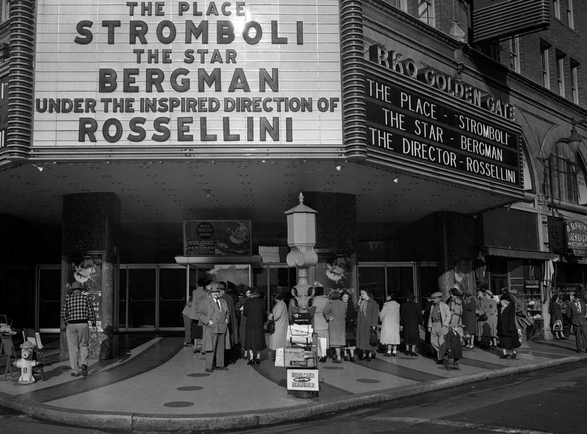 Crowds line up for the opening of the Movie Stromboli at the Golden Gate Theater in February 1950.