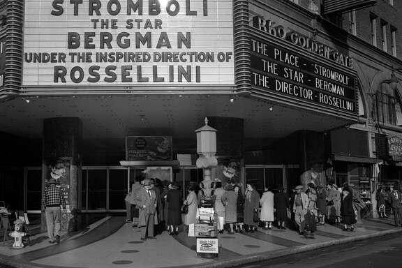 Crowds line up for the opening of the Movie Stromboli at the Golden Gate Theater February 1950
