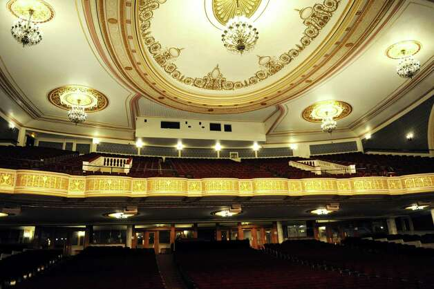 View of the restored Dutch gold leaf on the balcony from the stage on Thursday, Aug. 20, 2015, at Proctors Theatre in Schenectady, N.Y. The media was invited to view the restored balcony before lighting equipment permanently obscures the view. (Cindy Schultz / Times Union) ORG XMIT: MER2015082020104007 Photo: Cindy Schultz / 00033050A