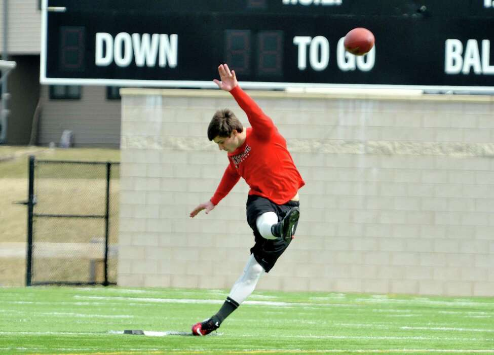 RPI football kicker, Andrew Franks, performs a kick off as he took part in a tryout in front of three NFL scouts on Monday, April 6, 2015, at RPI in Troy, N.Y. (Paul Buckowski / Times Union)