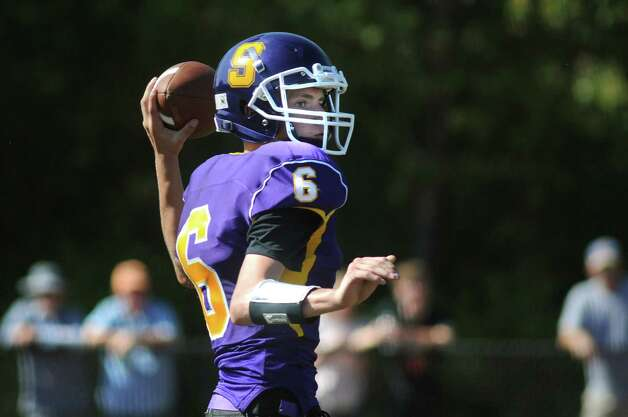 Salem's quarterback Andrew Terry looks to pass during their football game against Cambridge on Saturday, Sept. 5, 2015, at Salem High in Salem, N.Y. (Cindy Schultz / Times Union) Photo: Cindy Schultz / 00033242A