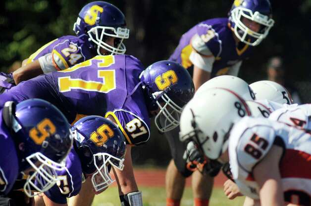 Salem's team lines up for a play during their football game against Cambridge on Saturday, Sept. 5, 2015, at Salem High in Salem, N.Y. (Cindy Schultz / Times Union) Photo: Cindy Schultz / 00033242A