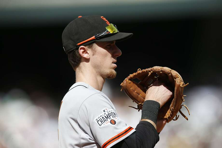 San Francisco Giants third baseman Matt Duffy (5) in the fourth inning of a baseball game Sunday, Sept. 6, 2015, in Denver. San Francisco won 7-4. (AP Photo/David Zalubowski) Photo: David Zalubowski, Associated Press