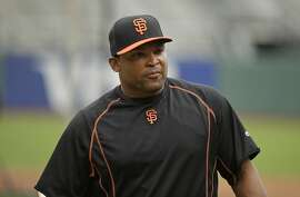 San Francisco Giants right fielder Marlon Byrd before the start of their baseball game against the San Diego Padres Saturday, Sept. 12, 2015, in San Francisco. (AP Photo/Eric Risberg)