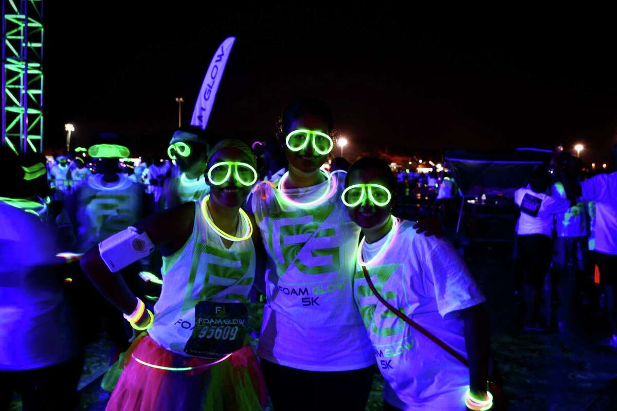 The Foam Glow 5K run was a light sensory multi-colored run set to stellar music that visits different cities to raise money for charities. Here's what it looked like when it hit S.A. Friday night.