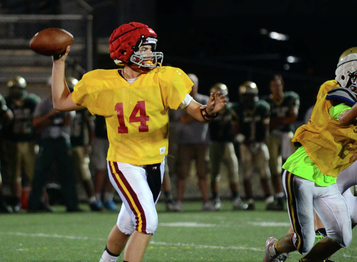 St. Joseph QB Cory Babineau during football scrimmage action against Notre Dame of West Haven at Veterans Stadium in West Haven, Conn., on Friday Sept. 4, 2015.