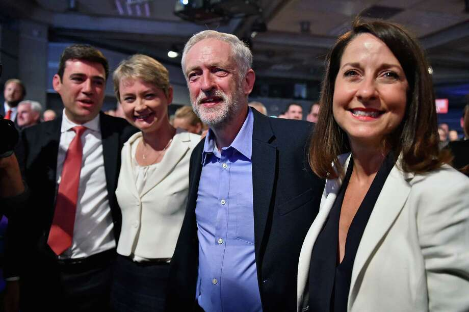 LONDON, ENGLAND - SEPTEMBER 12:  Jeremy Corbyn (2nd R) is announced as the new leader of the Labour Party at the Queen Elizabeth II conference centre on September 12, 2015 in London, England. Mr Corbyn was announced as the new Labour leader today following three months of campaigning against fellow candidates ministers Yvette Cooper (2nd L) and Andy Burnham (L) and shadow minister Liz Kendall (R). The leadership contest comes after Ed Miliband's resignation following the general election defeat in May. (Photo by Jeff J Mitchell/Getty Images) *** BESTPIX *** Photo: Jeff J Mitchell, Staff / 2015 Getty Images