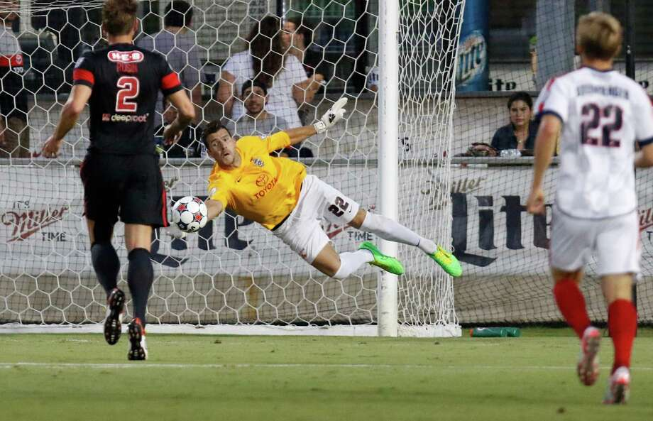 Scorpions goalie Daniel Fernandes makes a save in the first half against Indy Eleven at Toyota Field. Photo: Ron Cortes /