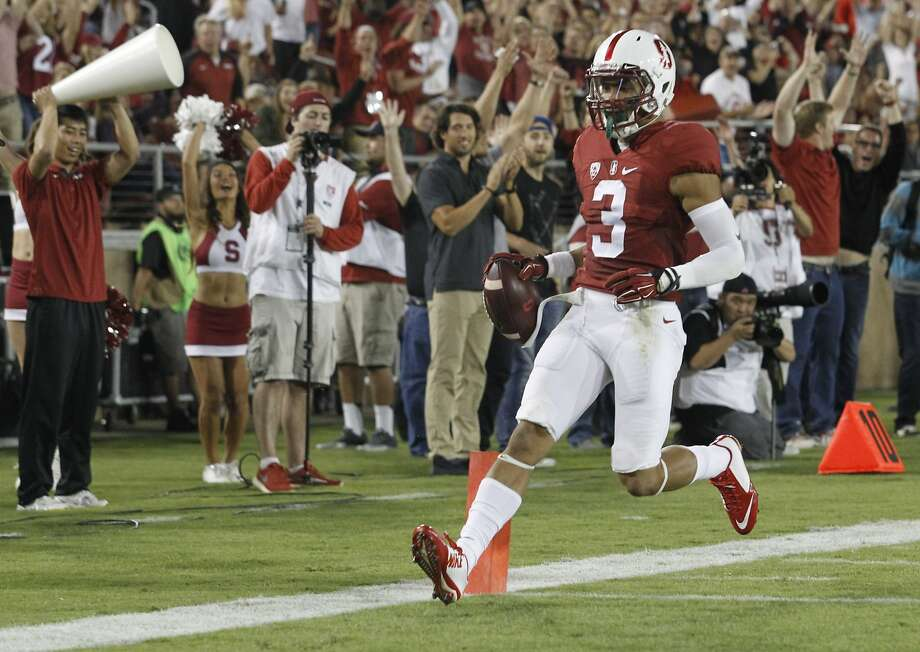 Stanford's Micheal Rector scores a second-quarter touchdown against Central Florida during an NCAA college football game Saturday, Sept. 12, 2015, in Stanford, Calif. Photo: Mathew Sumner, Associated Press