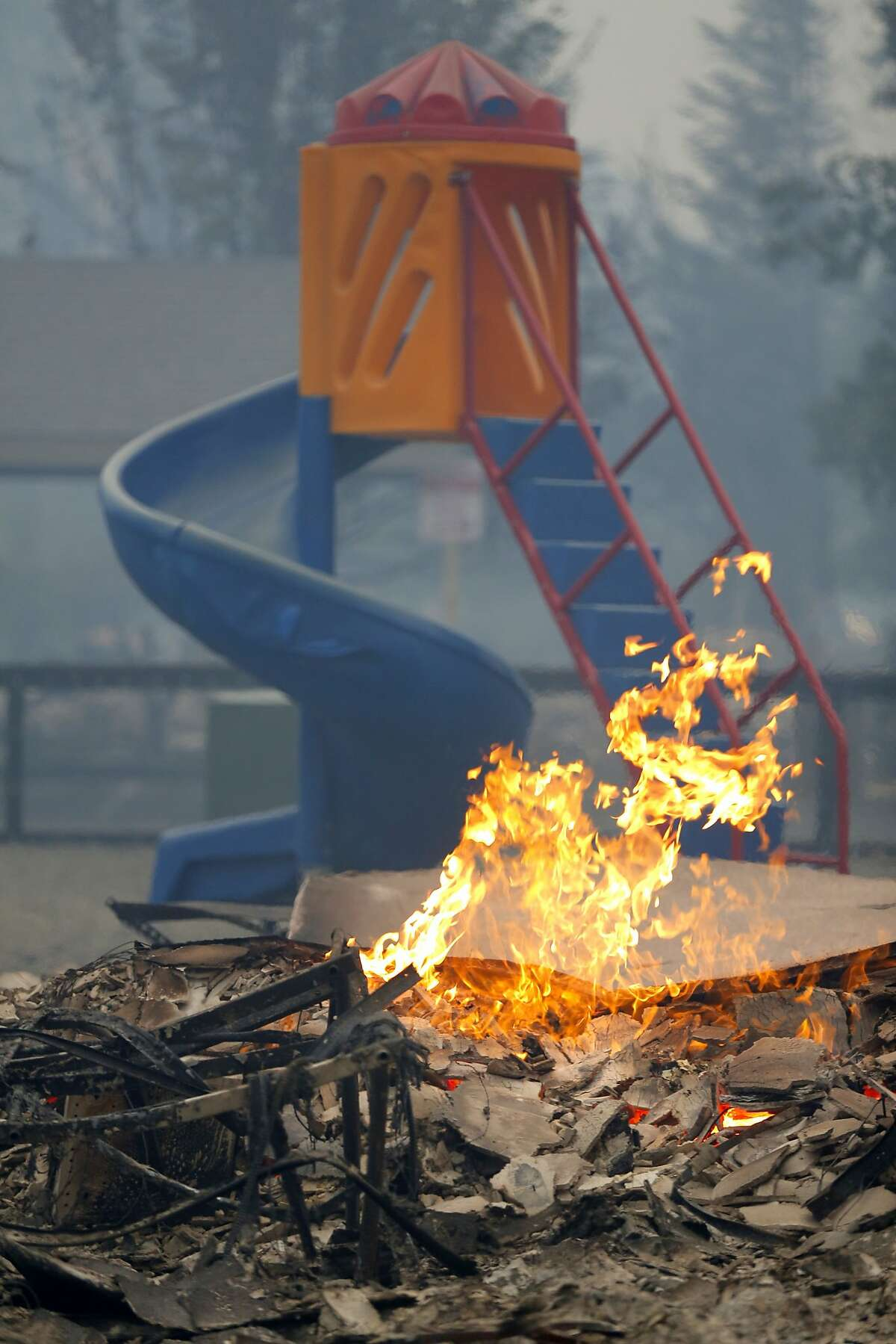 A children's slide was untouched by the Valley Fire in Middletown, California, on Sunday, Sept. 13, 2015.