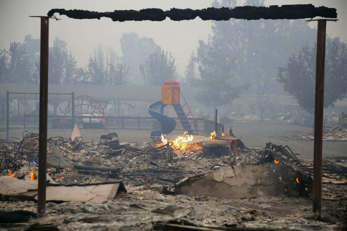 A building destroyed by the Valley Fire in Middletown, California, on Sunday, Sept. 13, 2015.