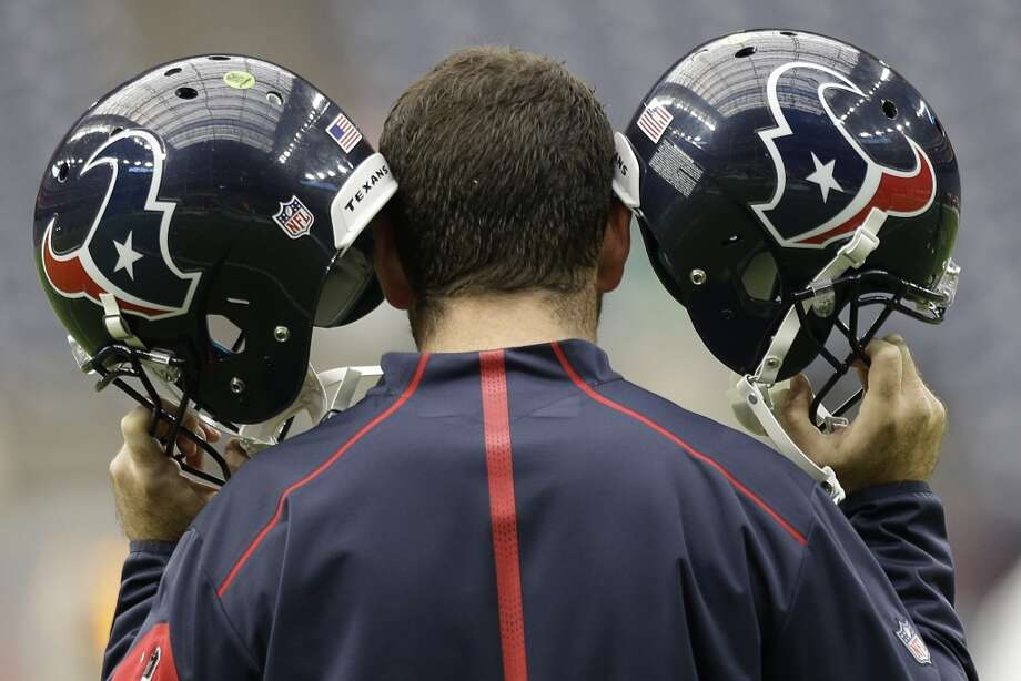 Houston Texans quarterbacks helmets are tested before an NFL football game against the Kansas City Chiefs at NRG Stadium on Sunday, Sept. 13, 2015, in Houston. ( Brett Coomer / Houston Chronicle ) Photo: Brett Coomer, Houston Chronicle