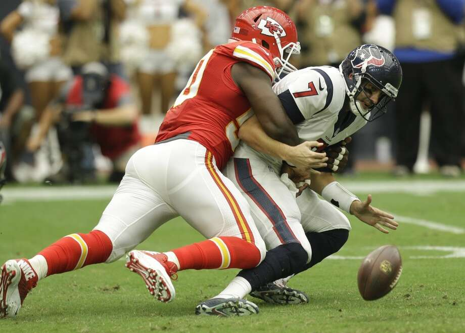 Turnovers like this fumble made Brian Hoyer's regular-season debut as the Texans starting quarterback a major dud.  Photo: Brett Coomer, Houston Chronicle