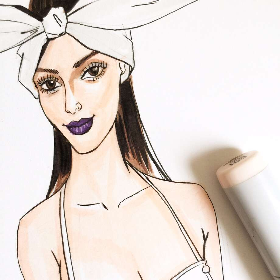 Houston fashion illustrator Rongrong DeVoe was selected to cover some shows at New York Fashion Week and did this illustration for Maybelline. Photo: Rongrong DeVoe