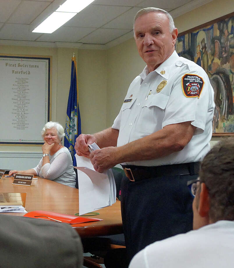 Retiring Fire Chief Richard Felner at his last Fire Commission meeting Thursday night. Photo: Genevieve Reilly / Fairfield Citizen / Fairfield Citizen