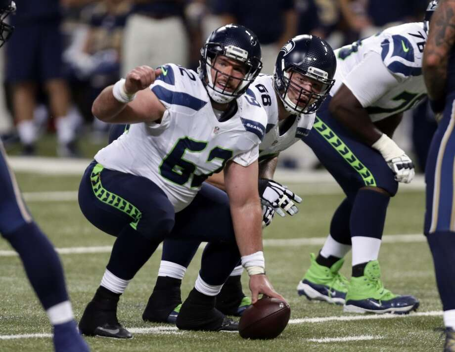 Seattle Seahawks center Drew Nowak prepares to snap the ball during the second quarter of an NFL football game against the St. Louis Rams Sunday, Sept. 13, 2015, in St. Louis. (AP Photo/Tom Gannam) Photo: AP