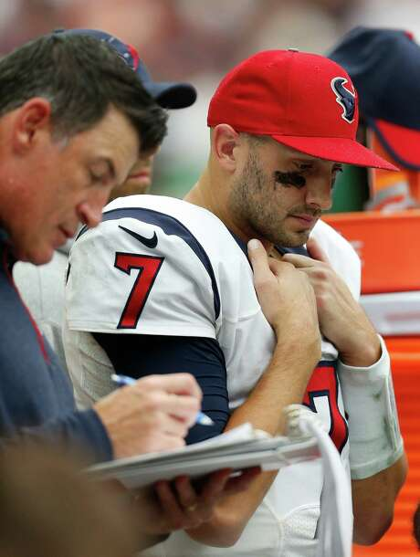 Texans quarterback Brian Hoyer (7) was benched during the fourth quarter of Sunday's season opener, inevitably leading to more questions about the team's QB situation. Photo: Karen Warren, Staff / © 2015 Houston Chronicle
