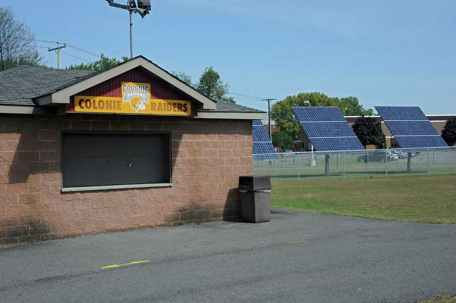 Solar panels have been installed near the athletic fields at Colonie Central High School on Wednesday, Sept. 9, 2015 in Colonie, N.Y. (Lori Van Buren / Times Union) Photo: Lori Van Buren / 00033252A