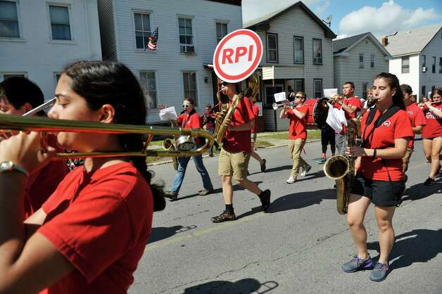 Members of the RPI Pep Band perform during the 40th Annual Uncle Sam Birthday Parade on Sunday, Sept. 13, 2015, in Lansingburgh, N.Y.  (Paul Buckowski / Times Union) Photo: PAUL BUCKOWSKI / 00033314A