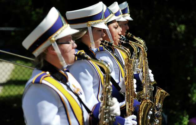 Members of the University at Albany Marching Great Danes perform during the 40th Annual Uncle Sam Birthday Parade on Sunday, Sept. 13, 2015, in Lansingburgh, N.Y.  (Paul Buckowski / Times Union) Photo: PAUL BUCKOWSKI / 00033314A