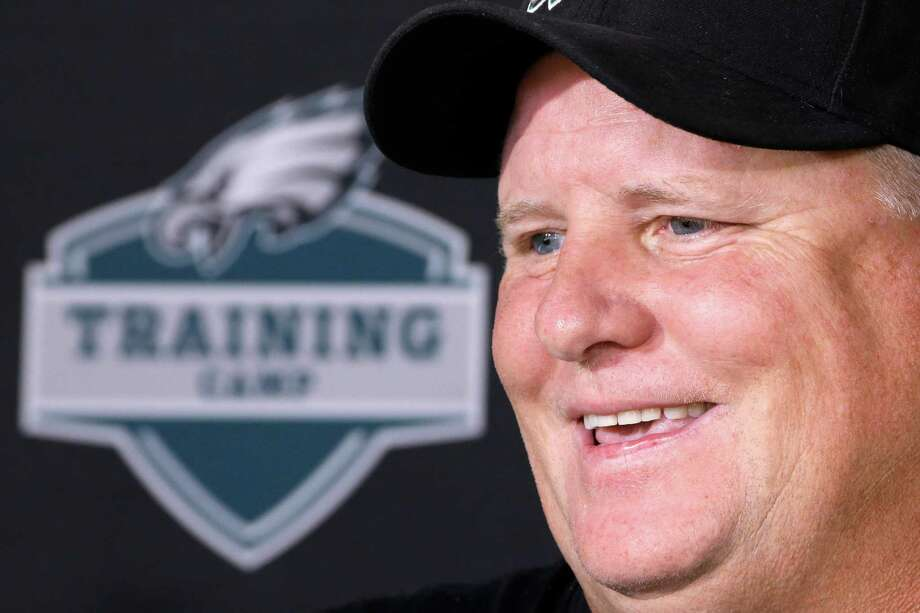 FILE - In this Aug. 27, 2015, file photo, Philadelphia Eagles head coach Chip Kelly speaks with members of the media during a news conference ahead of NFL football training camp  in Philadelphia. Winning 10 games two years in a row wasn't good enough for Kelly so he made bold changes. He won't stop until the Philadelphia Eagles win a Super Bowl.(AP Photo/Matt Rourke, File) ORG XMIT: NY155 Photo: Matt Rourke / AP