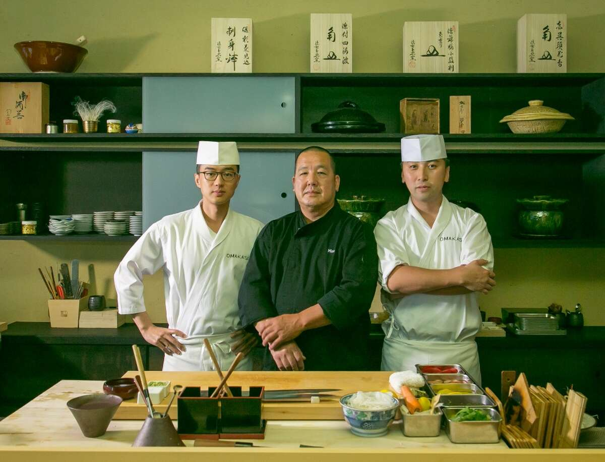 Left to right; sushi chefs, Ingi Son, Masaki Sasaki, Jackson Yu at Omakase in San Francisco,