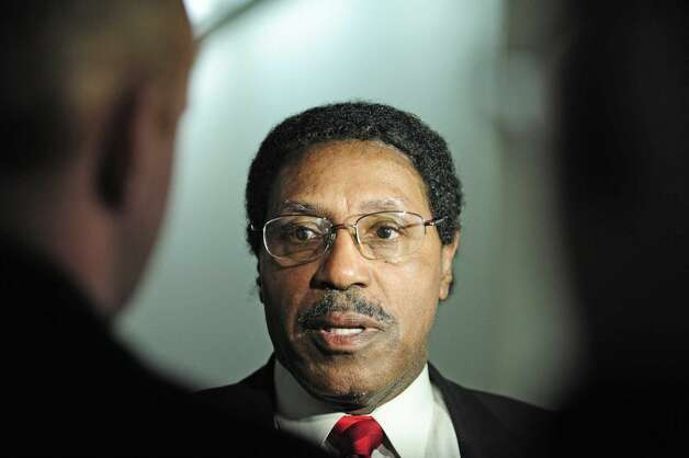 Assemblyman William Scarborough talks to members of the press outside his office in the Legislative Office Building on Wednesday, March 26, 2014, in Albany, N.Y. The FBI is investigating Scarborough. (Paul Buckowski / Times Union)