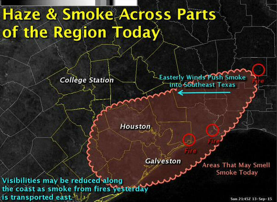 Fires in Western Louisiana and southeastern Texas burnt over the weekend, filling Houston air with smoke early Monday.