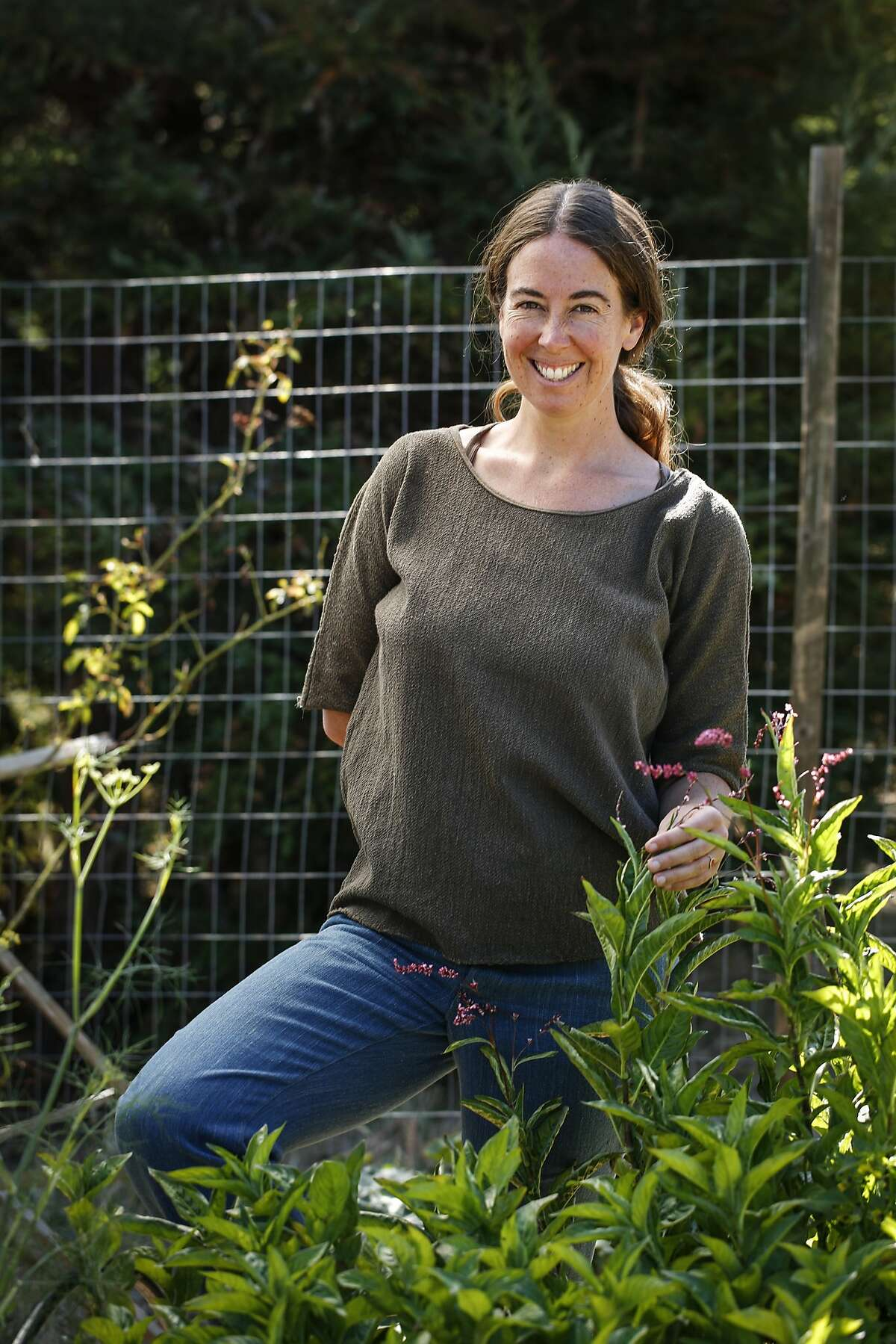 Rebecca Burgess, founder of Fibershed, is seen at Black Mountain Farm on Friday, Sept. 11, 2015 in Nicasio, Calif.