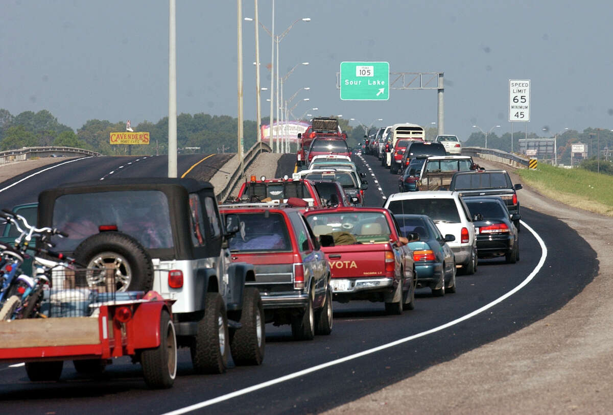 Traffic inched along Northbound U.S. Highway 69 on Sept. 22, 2005, as Jefferson County residents followed a mandatory evacuation order as Hurricane Rita made landfall.